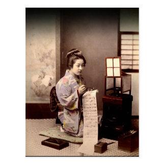 Carte Postale Geisha japonais vintage - auteur de lettre
