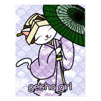 Carte Postale Geisha Kitty de jour pluvieux