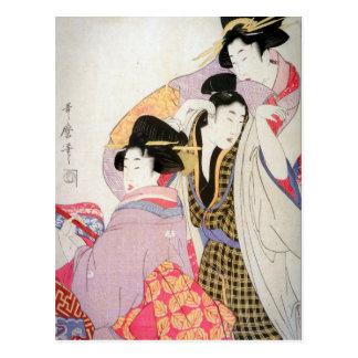 Carte Postale Geishas d'Utamaro avec le client pompette
