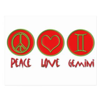Carte Postale Gémeaux d'amour de paix
