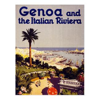 Carte Postale Gênes et le poster vintage italien Restor de