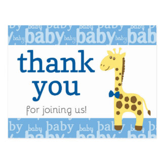 Carte Postale Girafe dans le baby shower bleu d'arc pour le