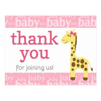 Carte Postale Girafe dans le baby shower rose d'arc pour le
