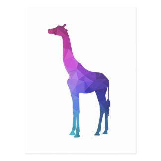 Carte Postale Girafe géométrique avec l'idée vibrante de cadeau