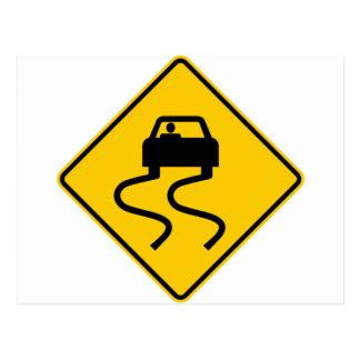 Carte Postale Glissant quand signe humide de route