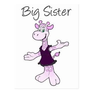 Carte Postale Grande soeur de girafe adorable