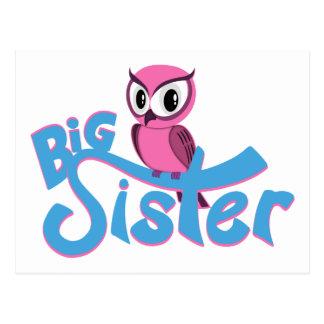 Carte Postale Grande soeur de hibou rose