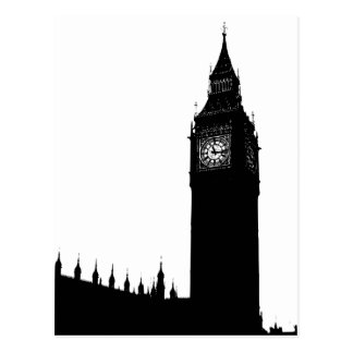 Carte Postale Graphique de silhouette de Big Ben Londres