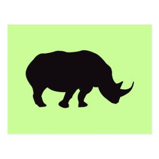Carte Postale Gravure du bois vintage de rhinocéros