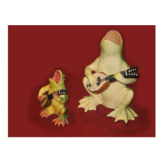 Carte Postale Grenouilles décoratives - chantant et jouant la