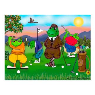 Carte Postale Grenouilles jouantes au golf - tournoi
