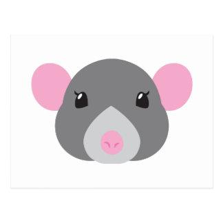 Carte Postale gris de visage de rat de fille