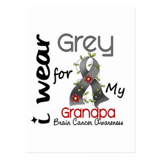 Carte Postale Gris d'usage du cancer du cerveau I pour mon
