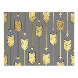 Carte Postale Gris et motif de flèches d'or de Faux