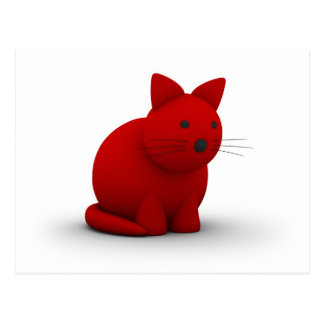 Carte Postale Gros chat rouge