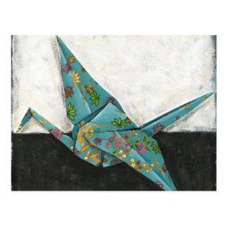 Carte Postale Grue d'origami avec des conceptions florales