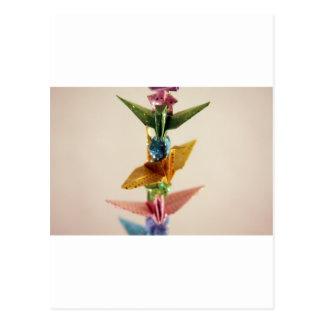 Carte Postale Grues et étoiles d'origami