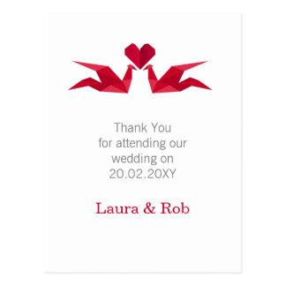 Carte Postale grues rouges d'origami épousant le Merci