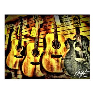 Carte Postale Guitares acoustiques de grain en bois