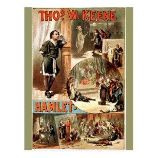 Carte Postale Hamlet vintage de Shakespeare, 1884,