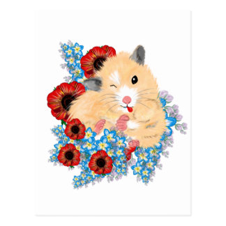 Carte Postale Hamster syrien d'or drôle se reposant en fleurs