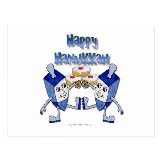 Carte Postale Hanoukka dansant Dreidels et beignets de gelée