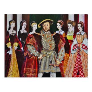 Carte Postale Henry les huitième et ses six épouses