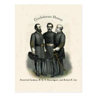Carte Postale Héros Stonewall Beauregard Lee de guerre civile
