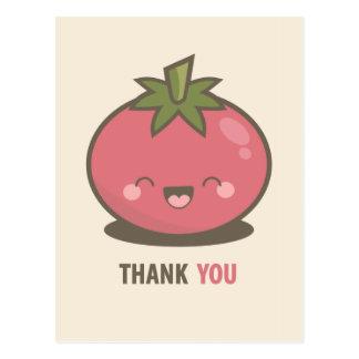 Carte postale heureuse mignonne de Merci de tomate