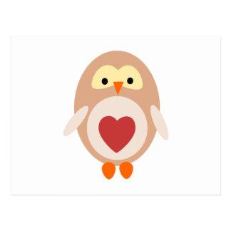 Carte Postale Hibou de coeur