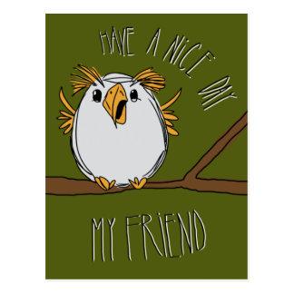 Carte Postale hibou sur une branche