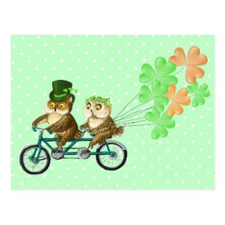 Carte Postale Hiboux irlandais de bicyсle avec des baloons de