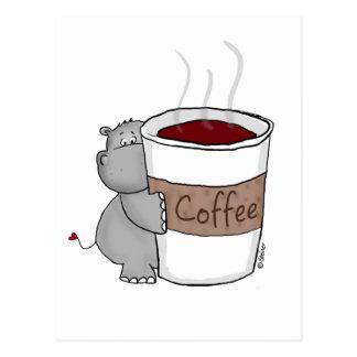 Carte Postale Hippopotame avec du café