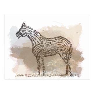 Carte Postale Histoire du cheval quart américain dans Typograph