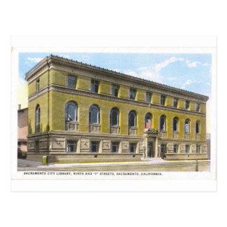 Carte postale historique de bibliothèque publique