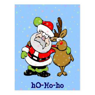 Carte Postale ho-ho-ho Père Noël et Rudy