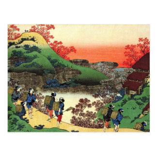 Carte Postale Hokusai - art japonais - vue fraîche de paysage du