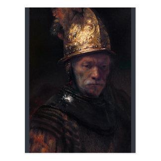 Carte Postale Homme de Rembrandt avec le casque d'or Ca 1650