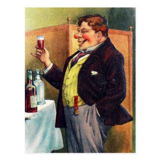 Carte Postale Homme gai grillant avec le cognac