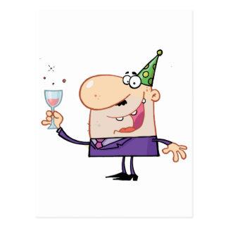 Carte Postale Homme Partying au jour de nouvelle année