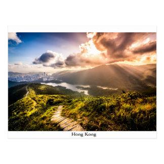 Carte Postale Hong Kong Mountainscape au coucher du soleil