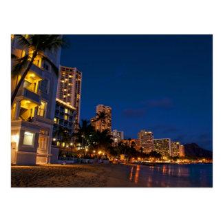 Carte Postale Honolulu, Oahu, Hawaï. Exposition de nuit de