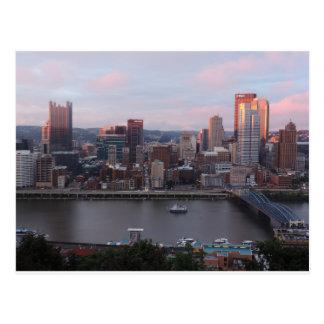 Carte Postale Horizon aérien de Pittsburgh au coucher du soleil
