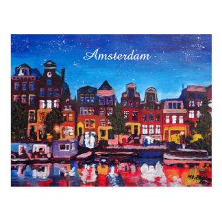 Carte Postale Horizon d'Amsterdam avec le canal la nuit
