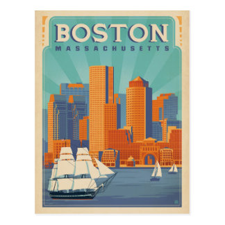 Carte Postale Horizon et voiliers de Boston | le Massachusetts