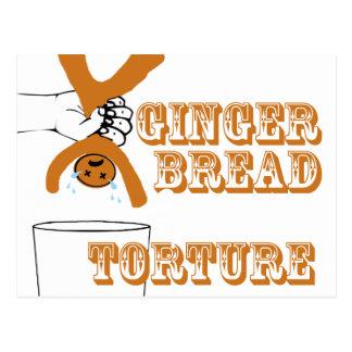 Carte Postale Humour bizarre de torture de bonhomme en pain