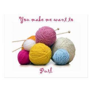 Carte Postale humour de tricotage