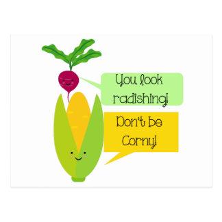 Carte Postale Humour végétal drôle de radis et de maïs
