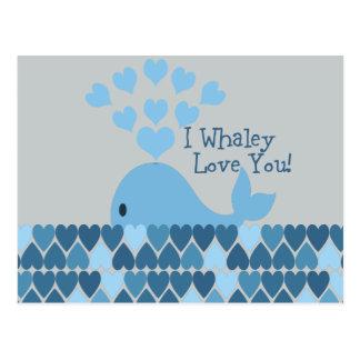 Carte Postale I amour de Whaley vous ! Bleu