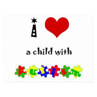 Carte Postale I coeur (amour) un enfant avec l'autisme